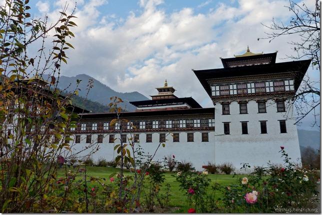 101119_P1030386_Bhutan, Thimphu, Trashi Chhoe Dzong, Außensansicht