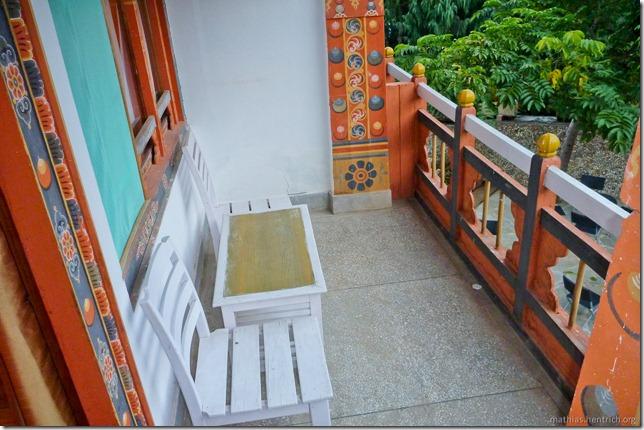101120_P1030520_Bhutan, Punakha, Hotel, Balkon